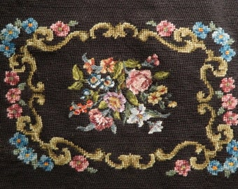 Vintage Needlepoint Seat Pillow Cover Wallhanging Brown Floral