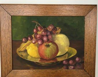 Still Life Fruit Vintage Oil on Canvas in Oak Frame