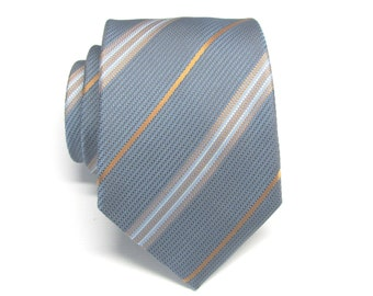 Mens Tie. Blue Rust Copper Brown Stripes Mens Necktie