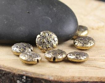 Flat Metal Beads Star Motive 10mm Gold 24 Beads