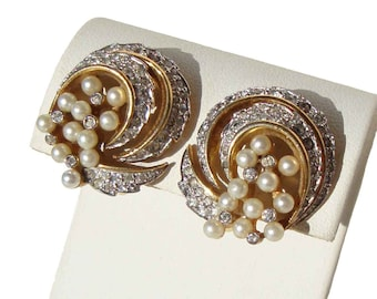 Vintage Jomaz Earrings Rhinestones & Faux Pearls