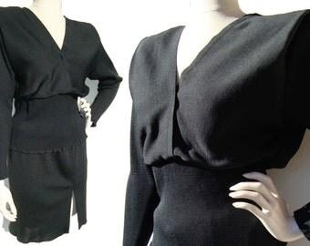 Vintage 80s Dress Norma Walters Black Cocktail LBD - M