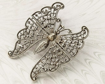 Art Deco Fancy Open Filigree Small Silver Butterfly Brooch /Figural Pin, Bug Pin, Mothers Day,Gift for Her, Butterfly Accessory