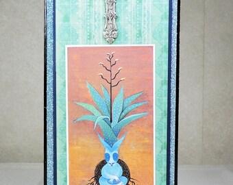 Handmade Artistic Greeting Card with Cross