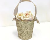 "Flower Girl Basket + Champagne Gold Glitter Flower Girl Basket with ribbon Handle (4 1/2"" x 4 7/16""x 3 3/8"")"