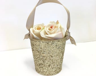"Flower Girl Baskets + Champagne Gold Glitter Flower Girl Basket with ribbon Handle (4 1/2"" x 4 7/16""x 3 3/8"") ON SALE"