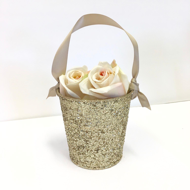 Flower Girl Baskets Champagne Gold Glitter Flower Girl
