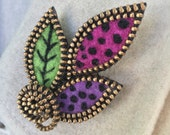 Felt and zipper multi leaf brooch