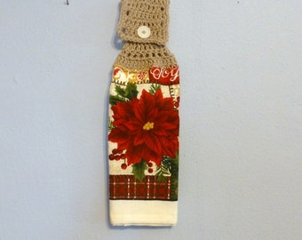 Uncut Crochet Button Top Hanging Kitchen Towel Double Layered Poinsettia Christmas Holiday Red Flower