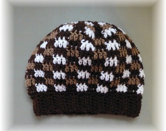 Slouchy Hat Brown Tan White Roomy Unisex Adult Teen Checkered Squares