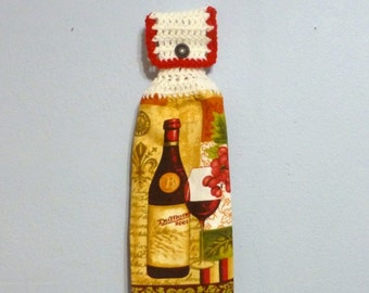 Button Top Hanging Kitchen Towel Double Layered Wine
