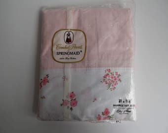 NOS Pink with Pink Flowers Springmaid Bed Sheet / Double Size / Full Size / Flat Sheet