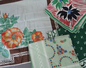 4 Vintage Green & Brown Floral Hankies, 1950s unused Hankie Lot