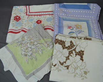 Lot of 4 Vintage Tablecloths, As Is Cutter Print Floral Linens 1950s 1960s,