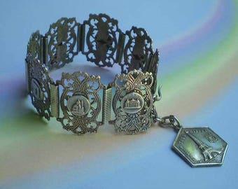 Vintage 40s Paris Souvenir Silver Filigree Panel Bracelet
