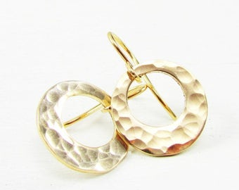Hammered Gold Washer Earrings | Hammered Gold Earrings | 14K Gold Filled Earrings | Gold Circle Earrings | Off Center Gold Washer Earrings