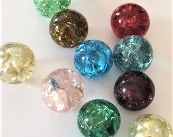 14mm Red Green Blue Pink Gold Crackled Glass Marbles 20 pieces Cracked Game Pieces Chinese Checkers Pendants