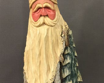 HAND CARVED original very large Santa bust with tree from 100 year old Cottonwood Bark.