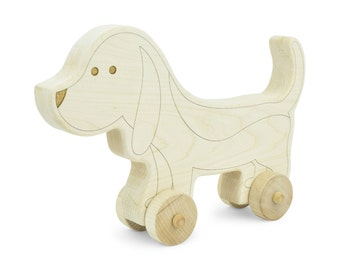 Dog Wooden Push Toy - Dog Toy - Handmade Wooden Toy - Push Toy - Play Dog - Toddler Toy - Birthday Gift - Dog - Wood Toy - Rolling Toy -TY19