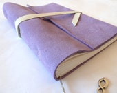 Personalised Leather Journal, Refillable, Light Purple Suede