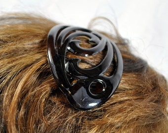 Vintage Made In France - Lucite Hair Comb Hair Clip - Faux Tortoise Shell