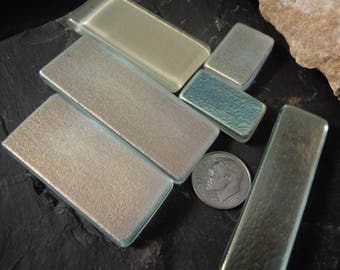 Mosaic supplies. Jewelry Supply. Recycled Fused dichroic glass. Muted Rose Gold and Silver Teal. RD-12