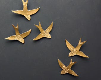 Wall art Swallows over Morocco Gold birds Wall sculpture Porcelain Ceramic wall art for bathroom Bedroom Living room set of 5 Bright gold