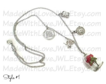 Beauty and the Beast Inspired Enchanted Rose Necklace