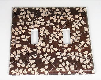 Double Switch Plate Light Switch Cover Wall Decor Light Switchplate  in Brown Leaves  (267D)