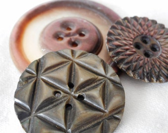 Lot of 3 VINTAGE Carved Iridescent Shell Sew Thru BUTTONS