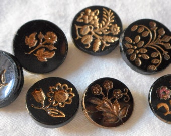 Lot of 7 ANTIQUE Flower Gold Tint Black Glass BUTTONS  G7