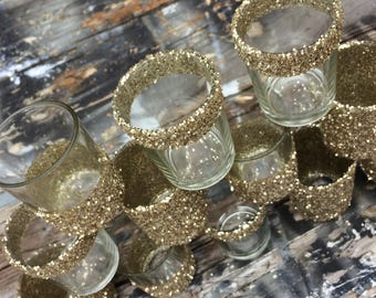 Champagne glitter Votive Candle Holders Wedding Party Favors Table Decoration Centerpiece Decor Reception Tealight Votive Candle Holders