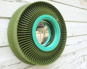 Vintage Kodak Slide carousel accent mirror- fern & sea glass