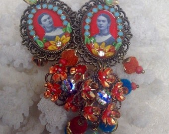 Lilygrace Frida Red, Blue and Yellow Earrings with Brass Filigrees,  Brass Flowers, Velvet Beads, Glass beads and  Vintage Rhinestones