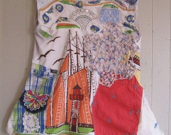 NAUTICAL BOATS LIGHTHOUSE - Wearable Folk Art Collage  - Upcycled Altered Beach Girl Anchor  - myBonny random scraps of fabric