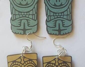 Tiki, Tiki earrings, Tiki jewelry, Earrings, Tiki oasis, Tiki luau, Tiki wedding, MsFormaldehyde