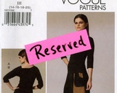Vogue V8737 Side Shirred Top and Contrast Skirt with Front Hem Ties Size 14 16 18 20 Uncut Sewing Pattern 2011