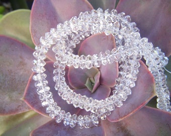 Herkimer Diamond Faceted Roundels - Half Strand - 6mm - 4 Inches