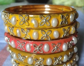 ON SALE Yellow Enamal Churi Bangles with a Pink Surprise - from Old India
