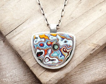 Fordite necklace, Detroit Agate necklace, fordite jewelry, girlfriend gift for her, wife gift, sterling silver statement necklace