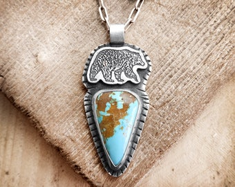 Sterling silver bear necklace, Turquoise bear jewelry, spirit animal totem, girlfriend gift for her, grizzly bear, brown bear, black bear