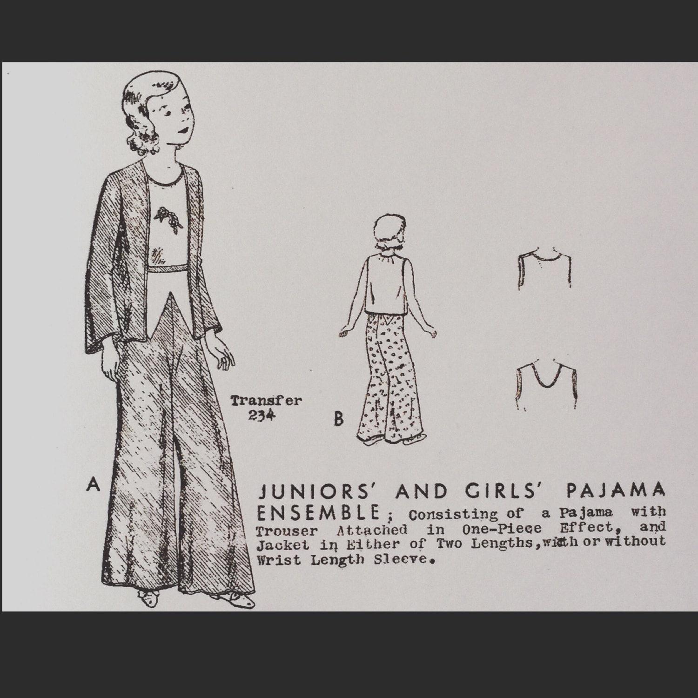 Vintage 30er Jahre Palazzo Mädchen Pyjama Hose nähen Muster