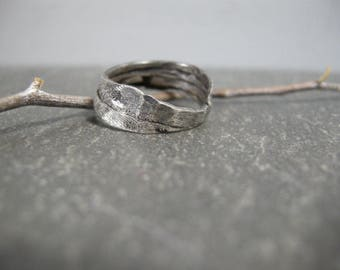 handmade sterling silver ring, raw, organic, wabi sabi, wavy, hammered, textured, oxidized, size 7, artisan, distressed, one of a kind