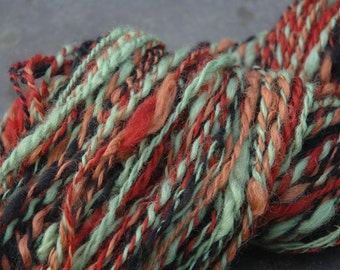 Hand Spun, Hand Dyed Pure Wensleydale Rare Breed Yarn Multicolored Chunky 230 grams Pom-Pom