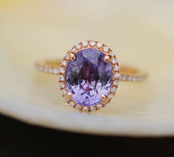 Ultra Violet sapphire ring diamond ring 14k rose gold engagement ring 2.88ct oval lavender sapphire. Color 2018 by Eidelprecious