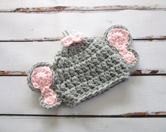 Baby Girl Elephant Hat, Baby Elephant Hat, Baby Girl Hat, Baby Animal Hat, Baby Costume, Baby Girl Photo Prop, Baby Girl Beanie, Grey, Pink