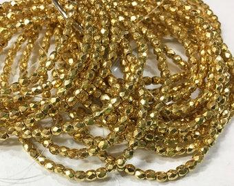 Gold Metallic Czech Glass Firepolished Crystal Beads 3mm 50 beads