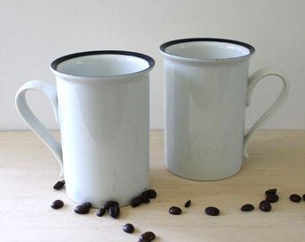 Dansk Epoch Blue mugs, 1970s Niels Refsgaard design. Made in Japan.