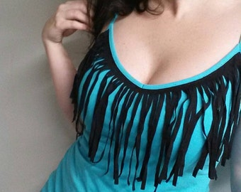 Fringe tank top long tank top in TEAL and black handmade size medium