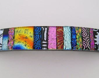 Medium Dichroic glass hair barrette